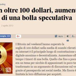 Bitcoin oltre 100 dollari aumentano i timori di una bolla speculativa Il Sole 24 ORE