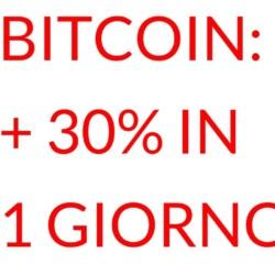 Bitcoin 30% in un giorno